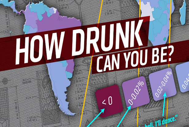 Mapa útil revela os limites de embriaguez para motoristas ao redor do mundo