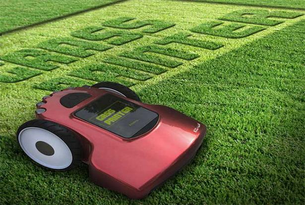 """Conheça o conceito de um cortador robótico de grama que funcionaria como uma """"impressora de grama"""""""