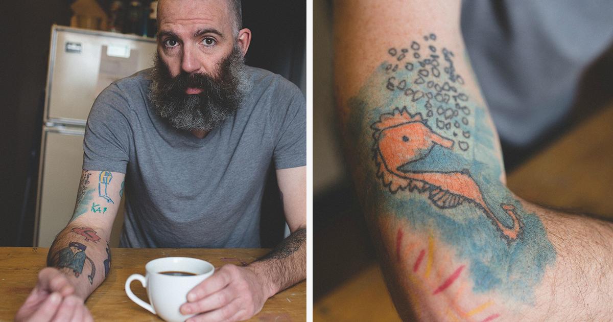Um Pai Começou A Tatuar Os Desenhos Do Filho No Próprio Braço Desde Que Ele Tinha 5 Anos de Idade. O Resultado É Espetacular.