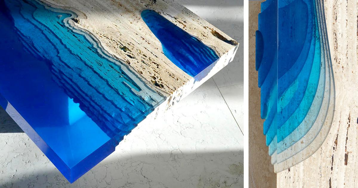 Mesa feita de m 225 rmore travertino e resina 201 espetacular