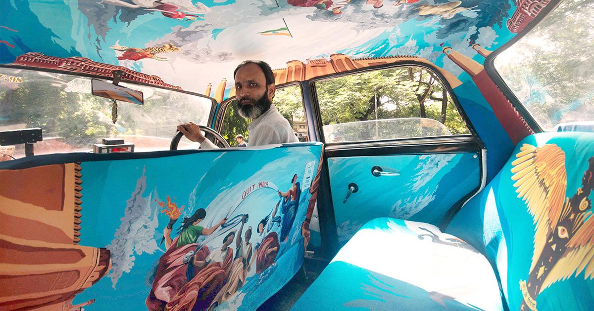 Taxistas Decidem Inovar Preenchendo O Interior De Táxis Com Vibrantes Obras De Arte