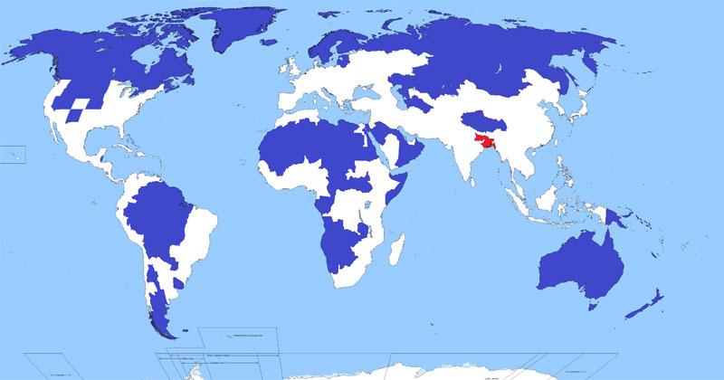 5% Da População Mundial Vive Nas Regiões Azuis. Outros 5%, Vive Nas Vermelhas.