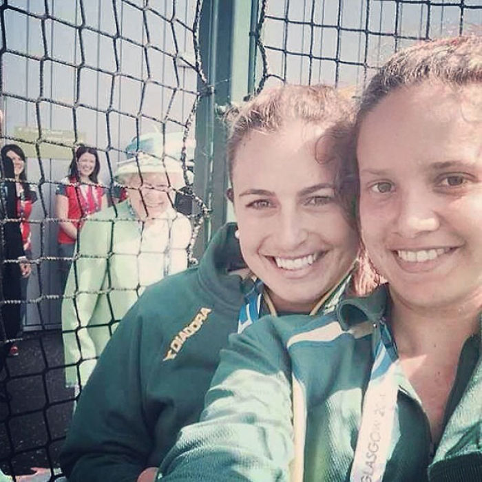Queen Elizabeth Deciding To Join In On Australian Field Hockey Player Jayde Taylor's Selfie