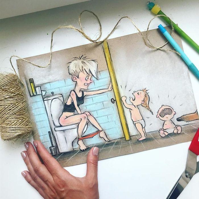 Mãe russa cria ilustrações divertidas e honestas sobre seus problemas cotidianos