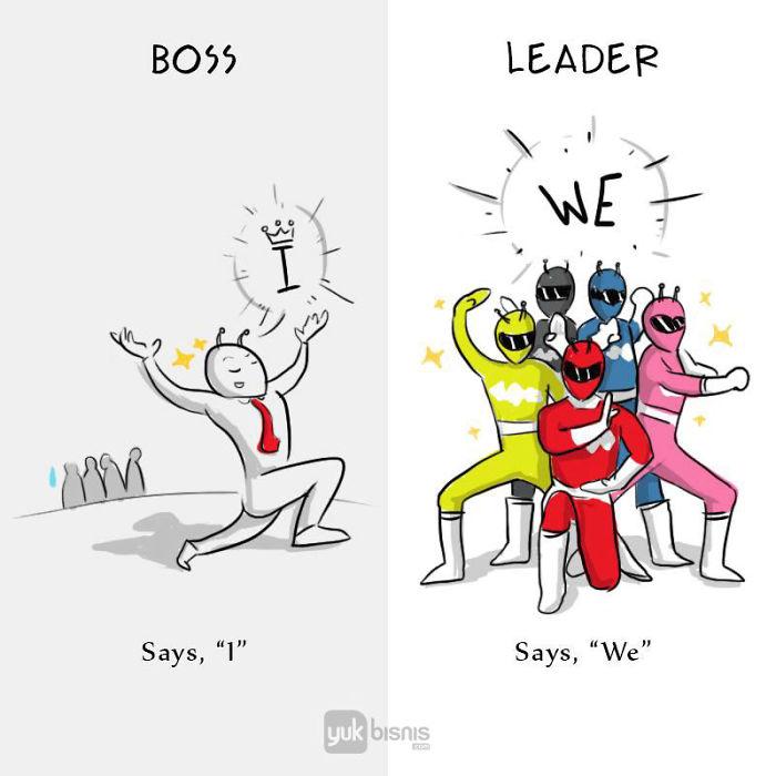 8 diferenças entre um chefe e um líder revelados em ilustrações simples