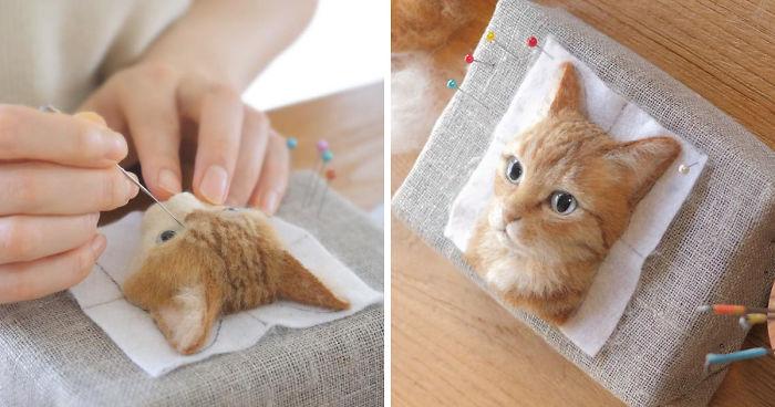 Artista japonês faz retratos realistas de gato 3D de lã, e o resultado é perfeito