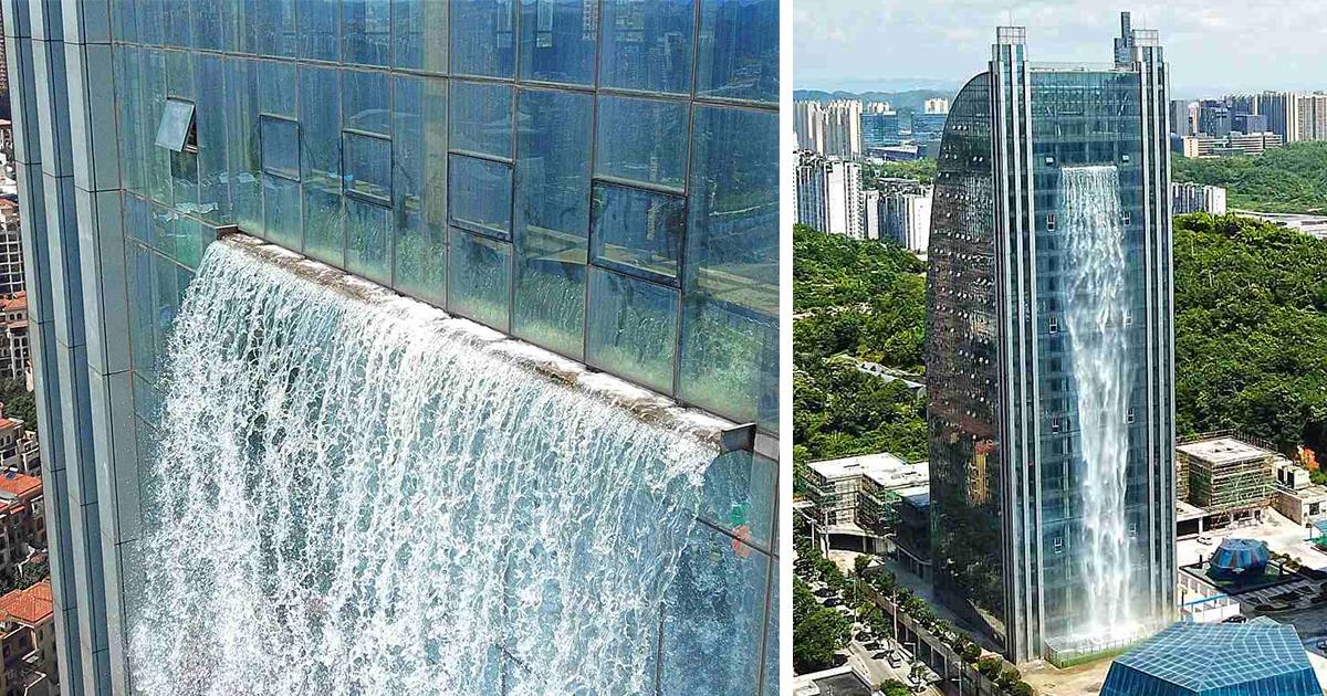 Chineses constroem inacreditável cachoeira em um arranha-céu