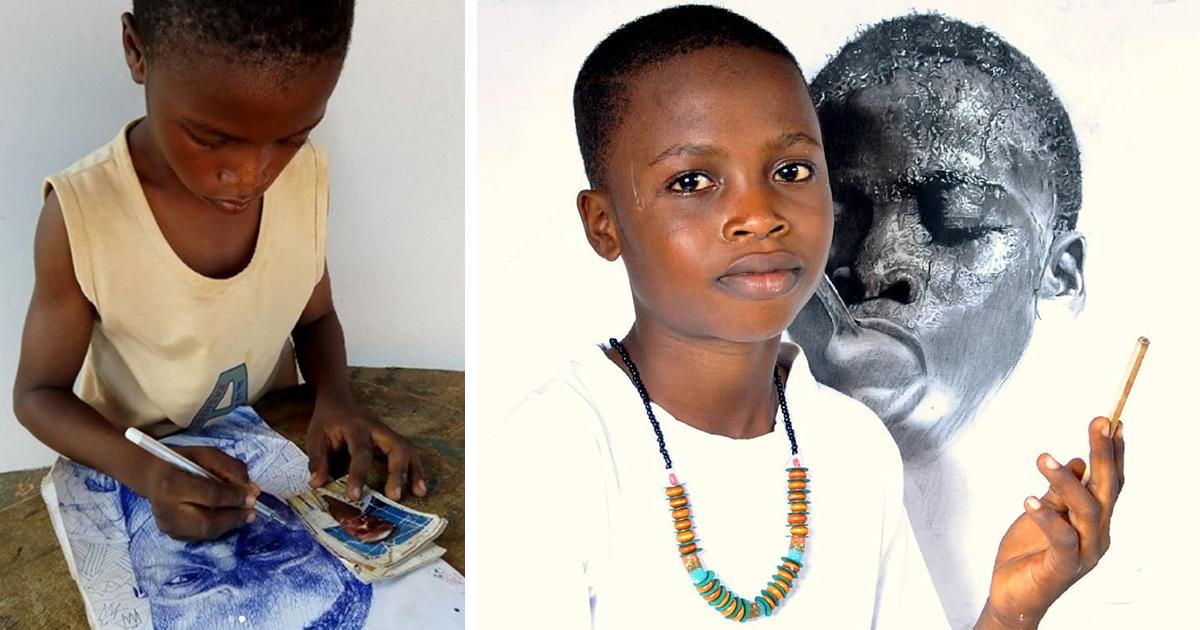 Criança de 11 anos da Nigéria cria desenhos hiper-realistas, e o resultado é surpreendente