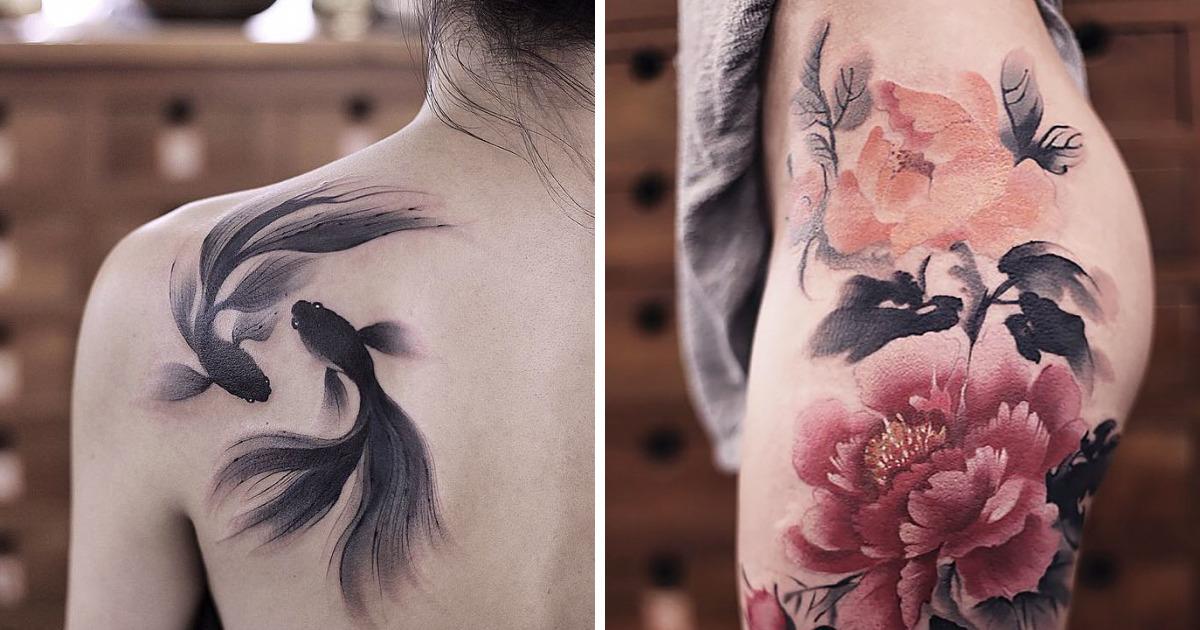 Estas tatuagens de aquarela por Chen Jie vão fazer você querer uma