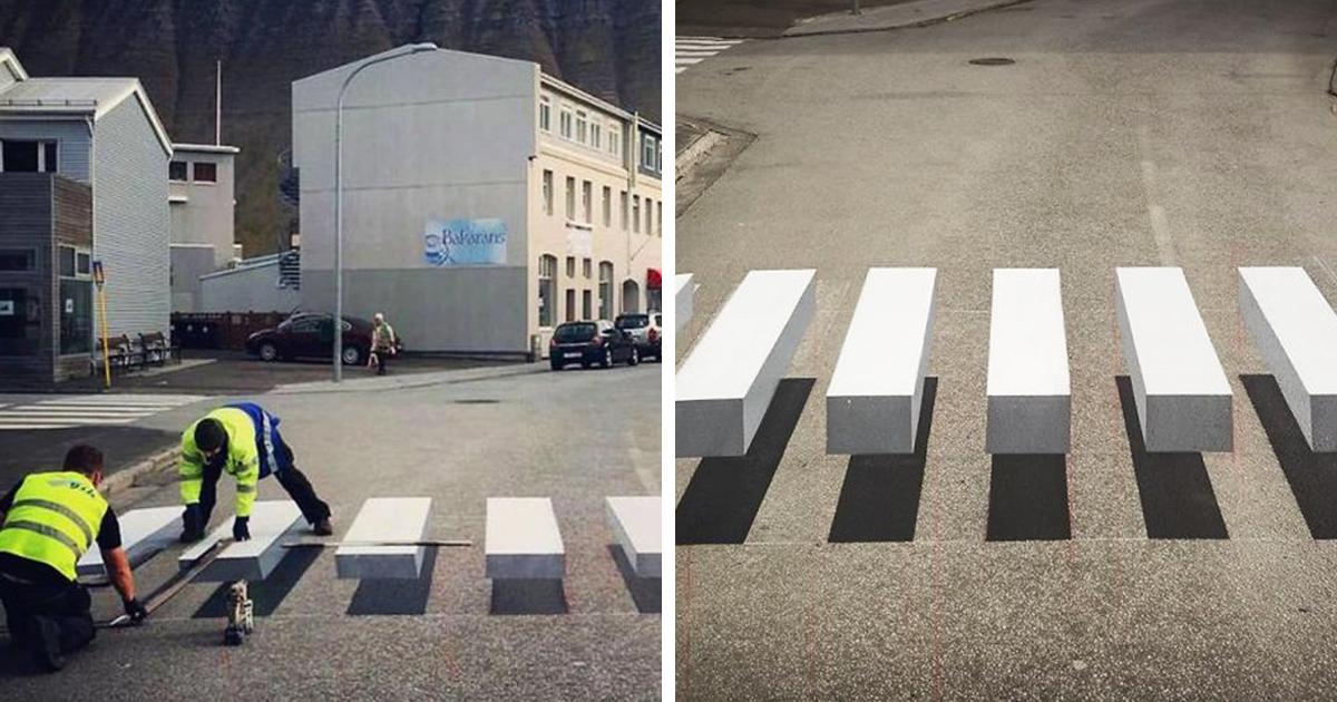 Esta cidade na Islândia pintou uma faixa de pedestres em 3D para diminuir a velocidade de carros