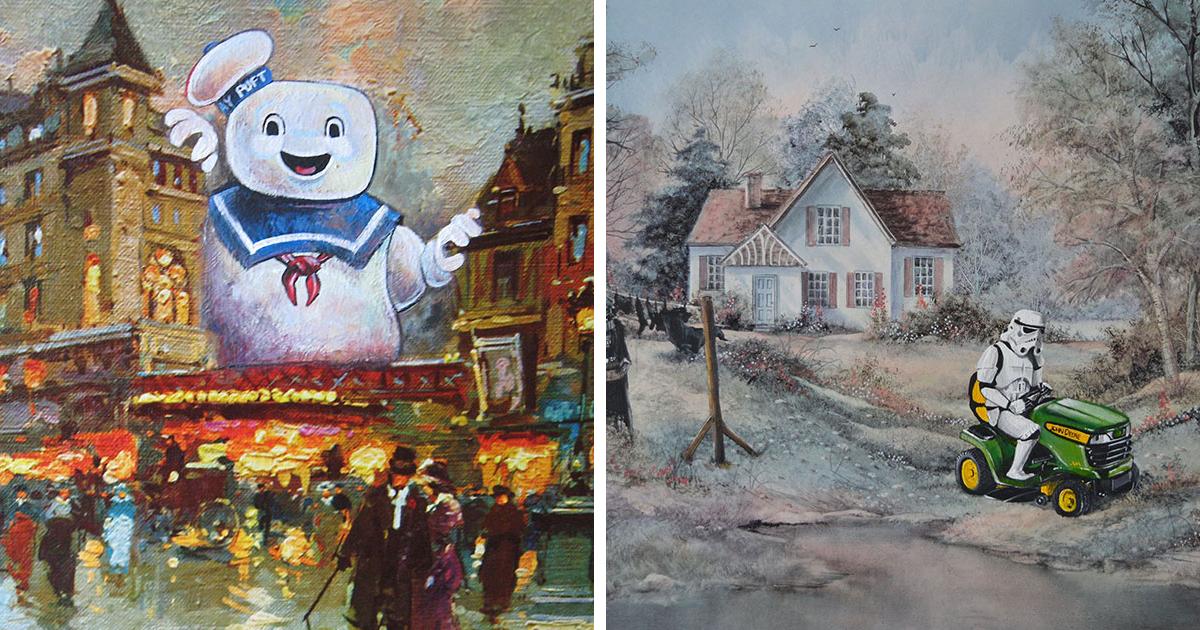 Adiciono personagens da cultura pop em velhas pinturas de lojas