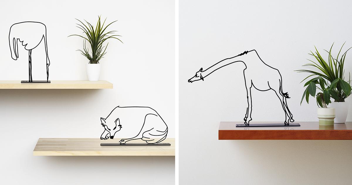 Eu encontrei um livro de 50 anos de idade com ilustrações de animais e as transformei em esculturas minimalistas