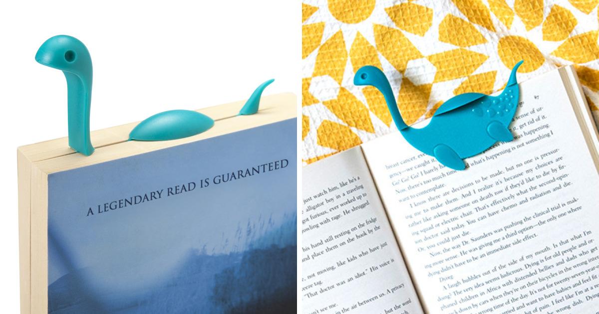 Criaram este marcador Nessie que vai flutuar acima do seu livro