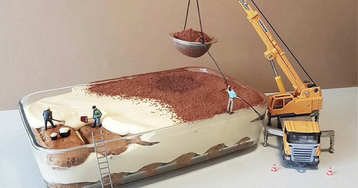 Confeiteiro usa sobremesas e pessoas em miniatura para criar situações imaginárias