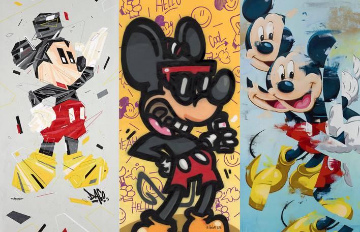 Criações de arte de rua para o aniversário do Mickey Mouse