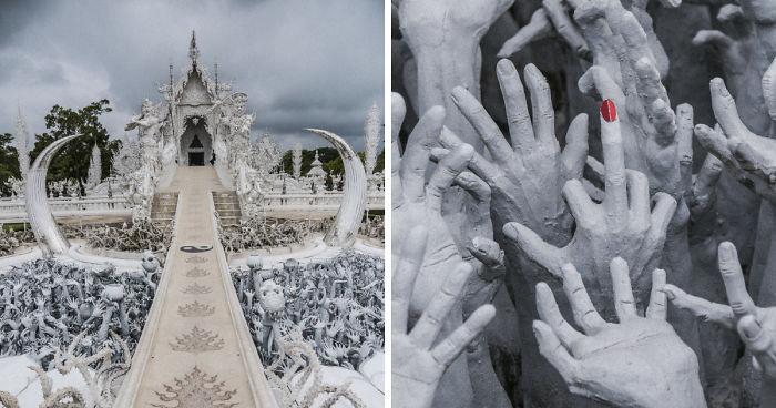 Este templo branco na Tailândia é o céu e o inferno