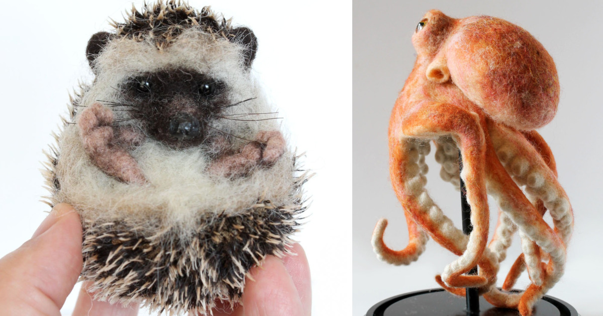 20 esculturas realistas de animais feitas com fibra de lã