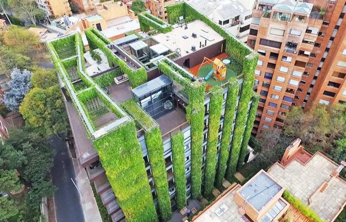 Veja as fotos deste impressionante jardim vertical em Bogotá