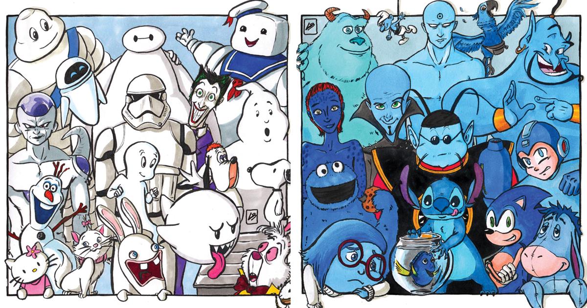 Agrupei personagens famosos por cor, e é isso que descobri