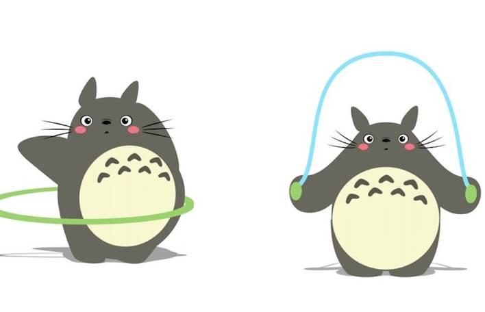 8 gifs animados e engraçados de Totoro praticando exercícios físicos
