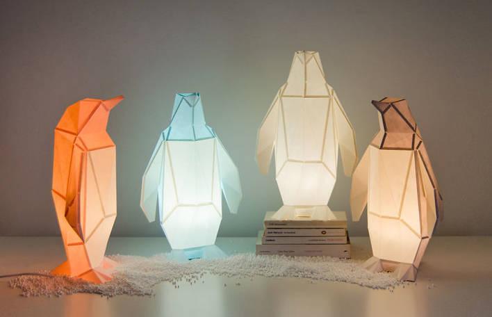 Lâmpadas de animais selvagens feitas de papel inspiradas em origami