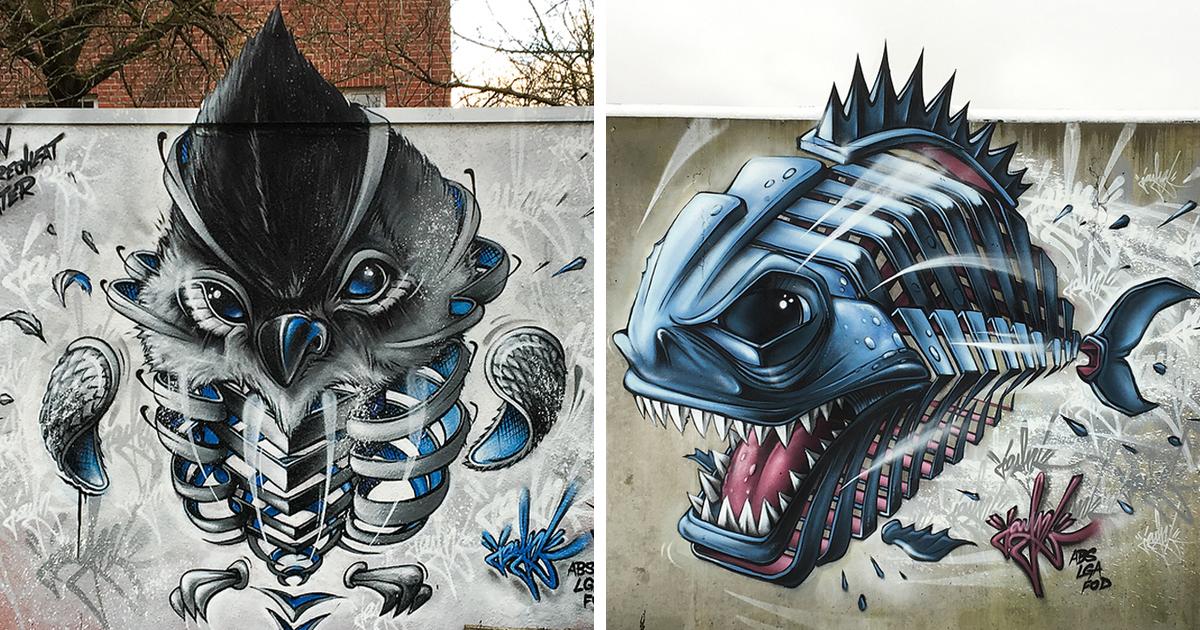 Artista alemão leva arte de rua a outro nível com seus 34 animais 'fatiados'