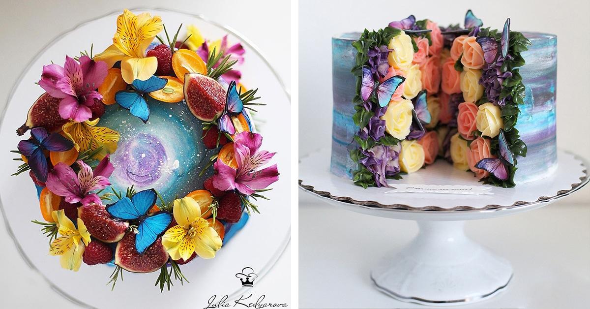 Esta confeiteira faz bolos incríveis com galáxias comestíveis e jardins secretos dentro