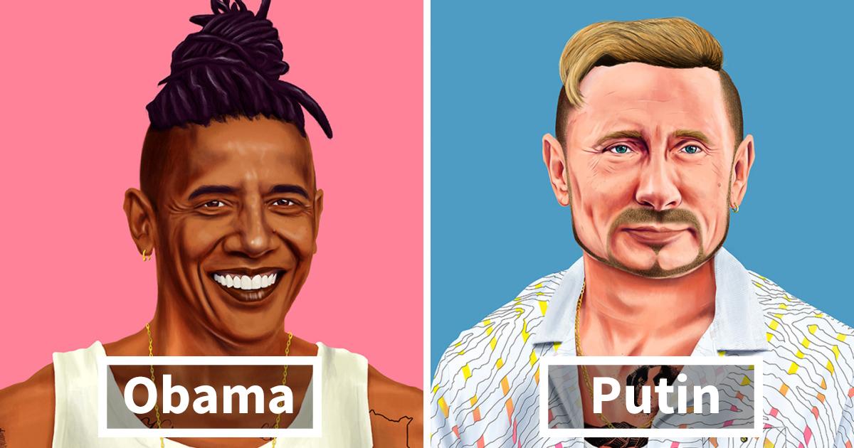Ilustrador reimagina 19 dos maiores líderes do mundo como hipsters nos dias de hoje