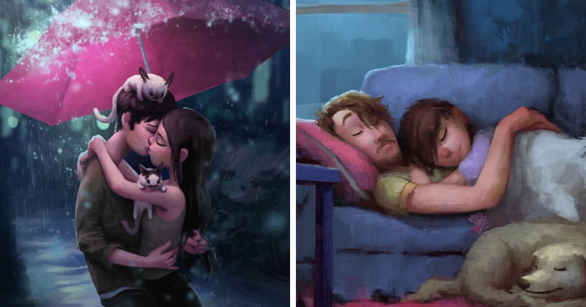 30 ilustrações idílicas de amor e afeto que vão aquecer seu coração agora mesmo