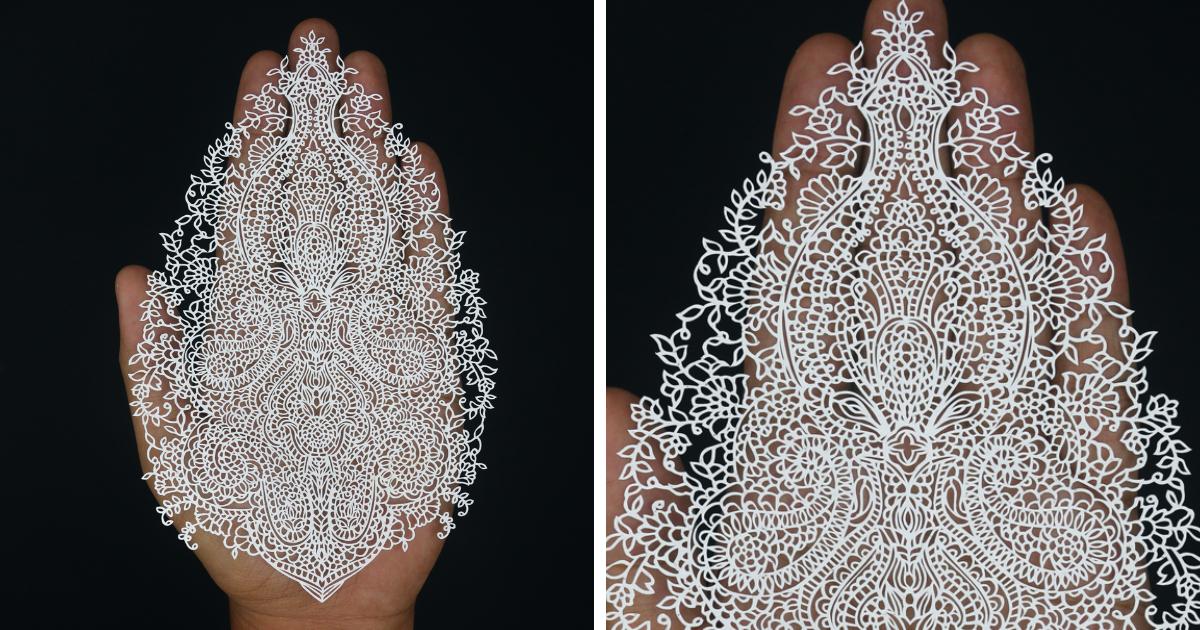 Artista indiano faz cortes de papel tão detalhados que cada um leva no mínimo 7 dias para ficar pronto