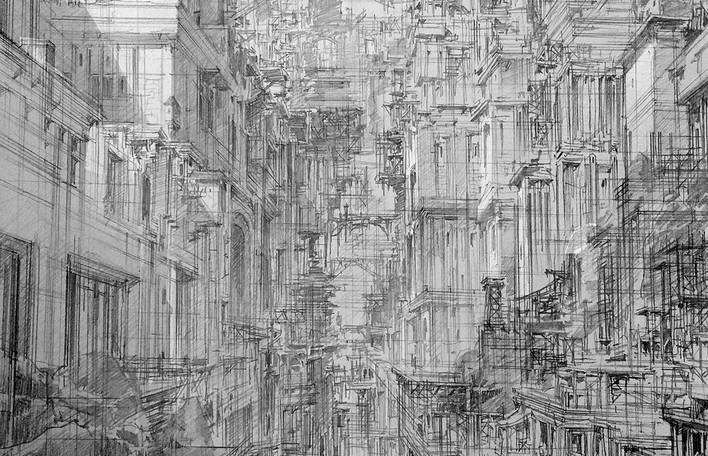 Ilustrações fantasmagóricas de cidades infinitas