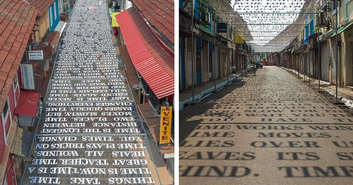 A luz do sol nesta instalação da rua revela mensagens sobre a passagem do tempo com as sombras