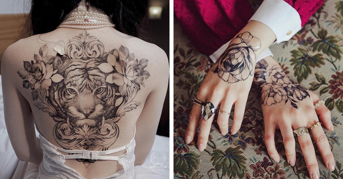 Artista cria tatuagens com traços finos sobre a força da mulher e fertilidade