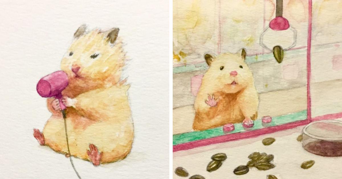 Artista japonês imagina típicas aventuras diárias de um hamster de uma forma alegre