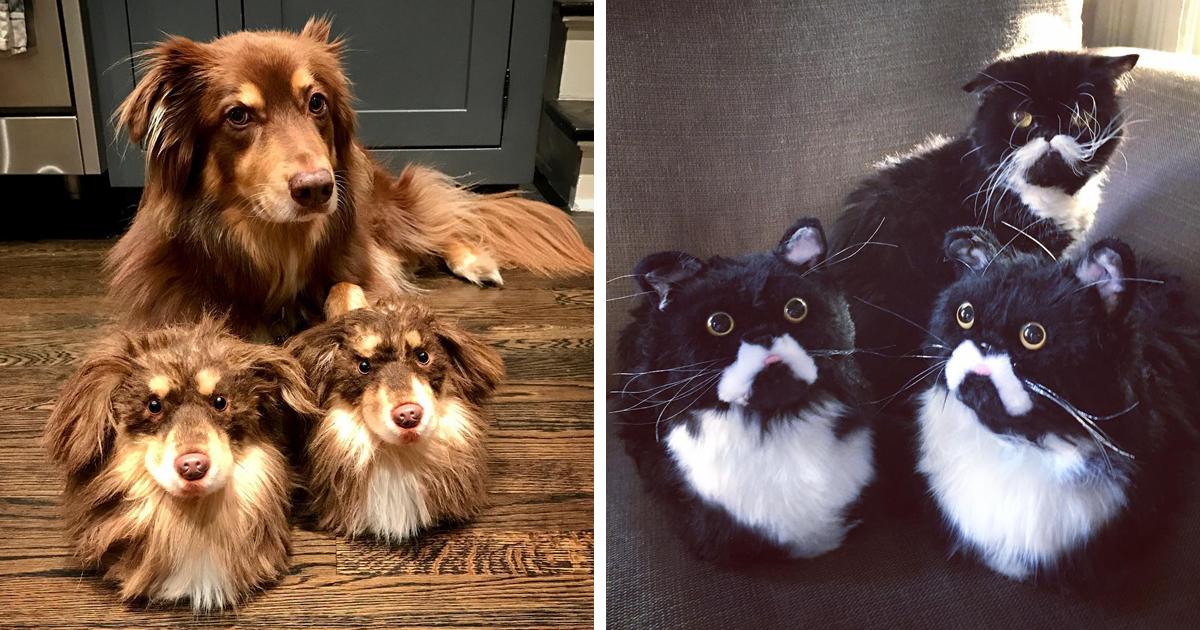 Esta empresa faz chinelos parecidos com os animais de estimação dos donos, e eles ficam tão realistas que os próprios cães ficam com ciúmes