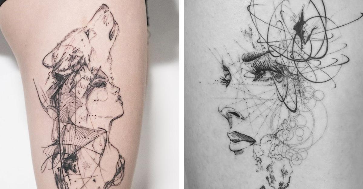 Tatuagens graciosas que parecem esboços inspirados em símbolos geométricos e gravuras antigas