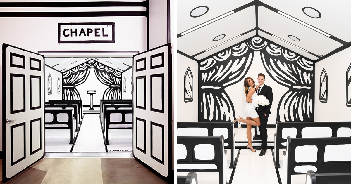 Agora você pode se casar nesta capela em Las Vegas que se parece um rascunho em preto e branco