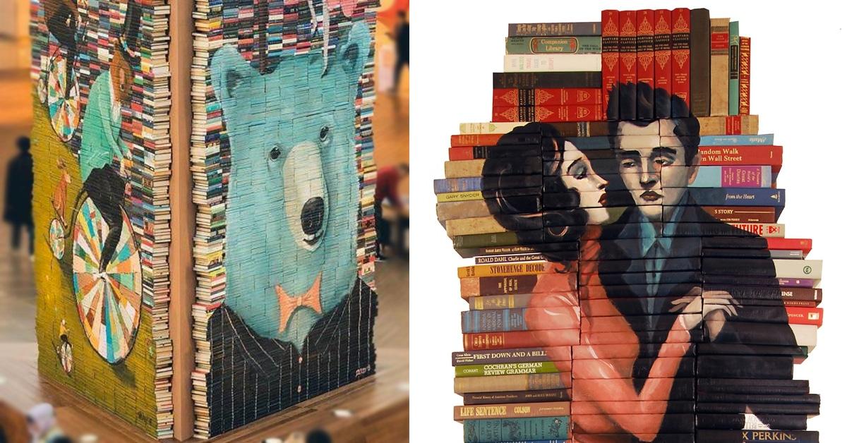 Artista dá nova vida a livros antigos, transformando-os em esculturas empilhadas impressionantes