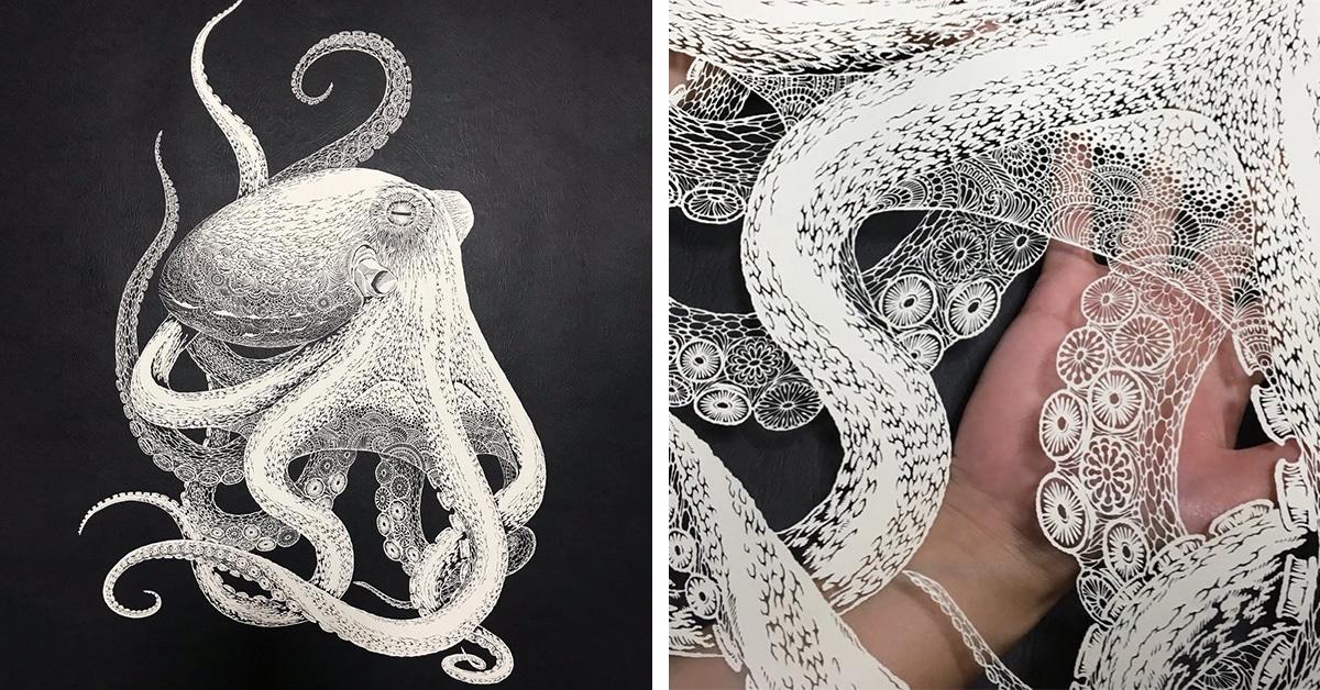 Artista japonês faz recorte à mão muito intricado de polvo com apenas uma folha de papel