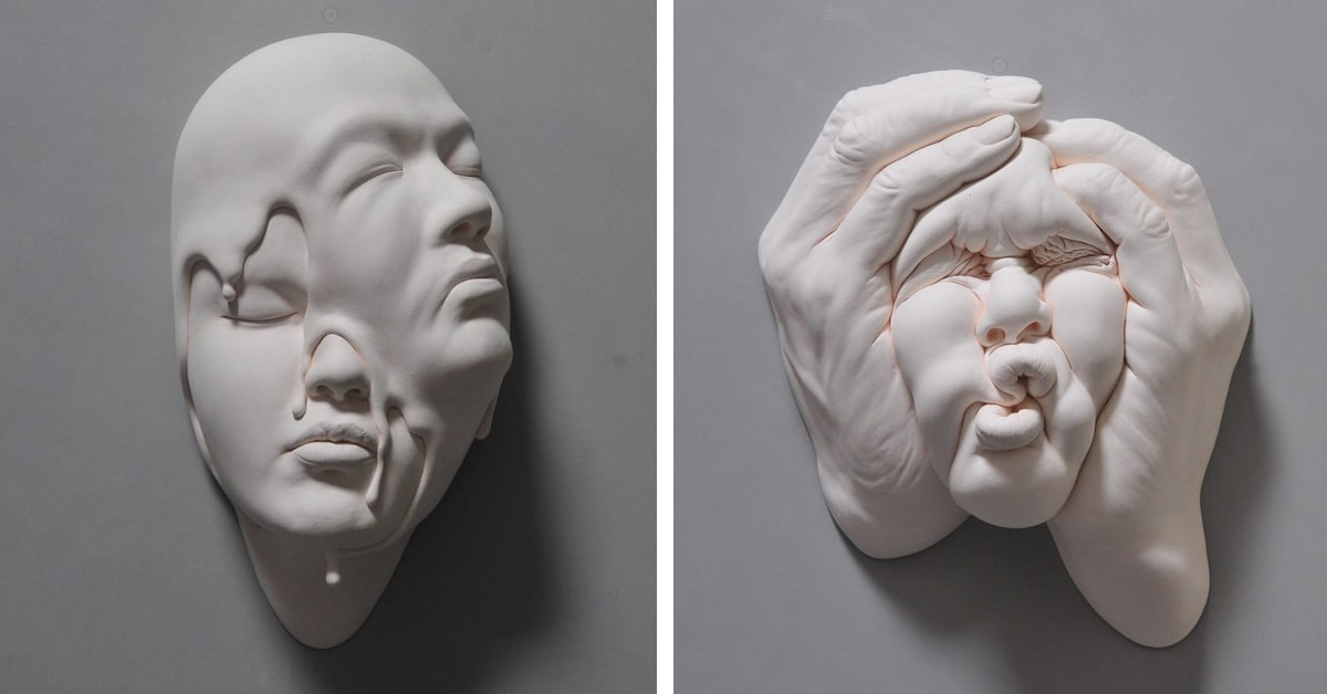Esculturas surreais de rostos de argila contorcidos reinterpretam a realidade
