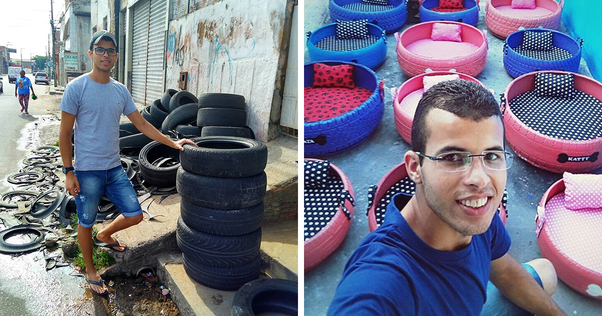 Este jovem brasileiro está transformando pneus velhos em camas para animais