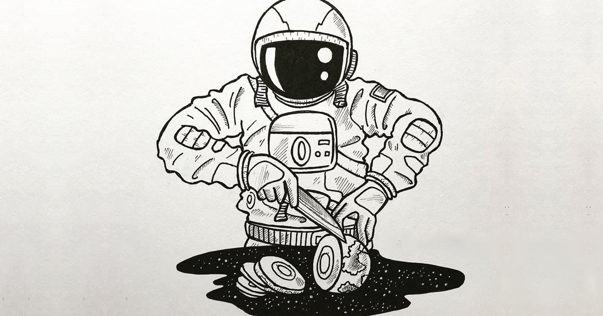 Artista ilustra um astronauta solitário vagando pelo espaço (28 ilustrações)