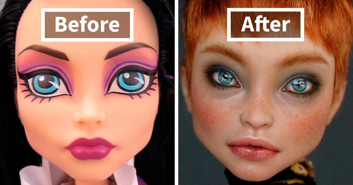 """Artista ucraniana remove maquiagem de bonecas para dar a elas um visual """"realista"""", e o resultado é muito melhor"""