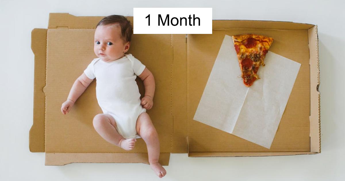 Mãe documenta o crescimento do seu bebê durante os primeiros 12 meses usando fatias de pizza de diferentes sabores