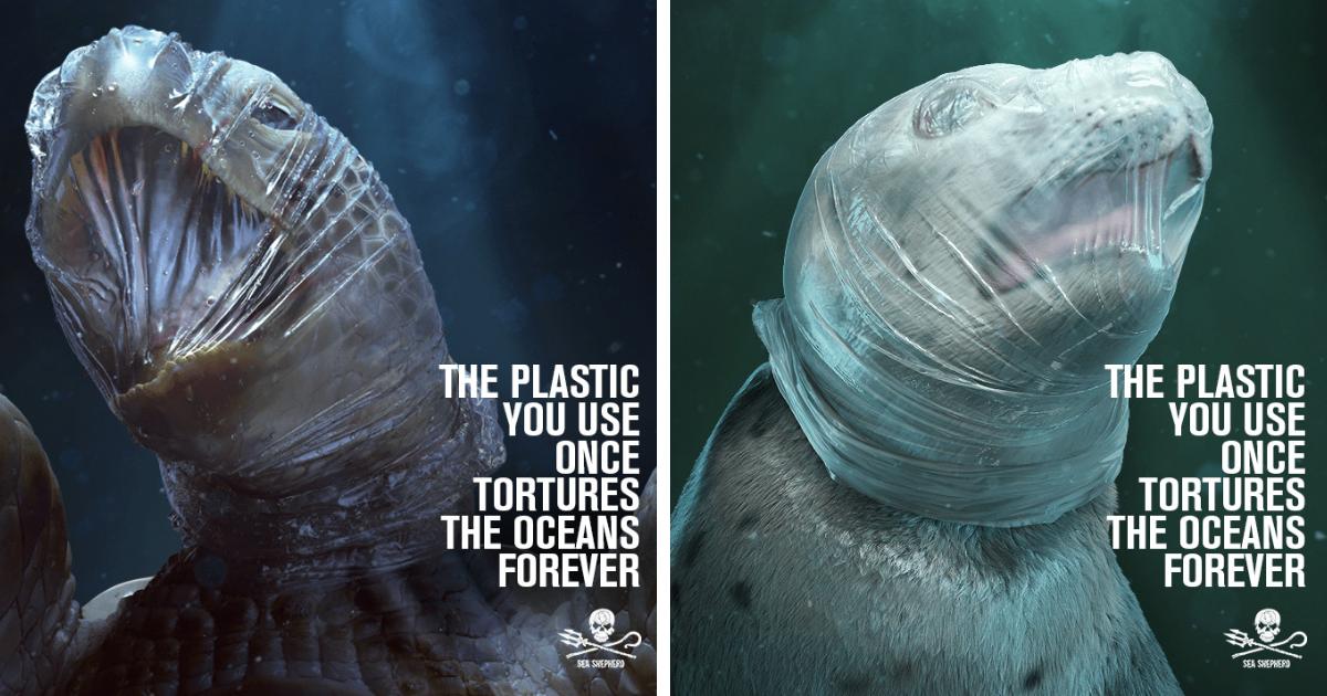 Anúncio mostra animais sufocando em plástico para campanha de poluição plástica