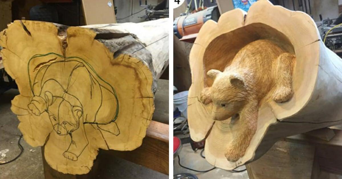 Artista transforma troncos caídos em adoráveis animais da floresta saindo de árvores