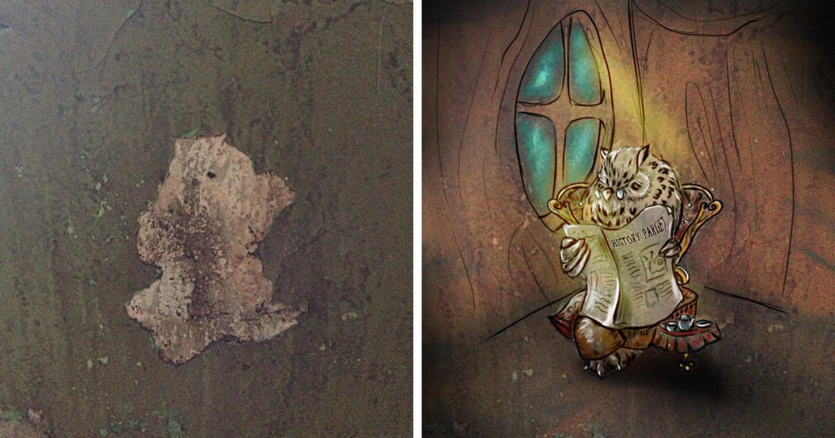 """Artista russa pinta criaturas que ela vê """"vivendo"""" nas paredes devido a pareidolia (34 fotos)"""