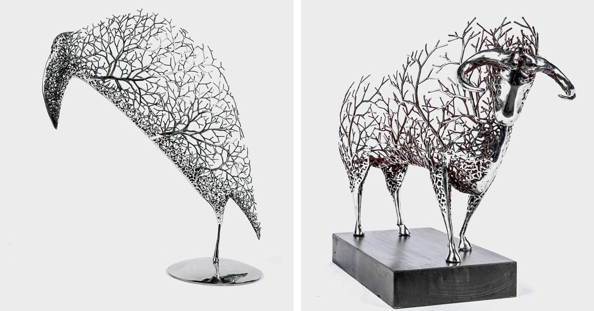 Esculturas surreais de animais feitas de ramos metálicos fazem homenagem à natureza