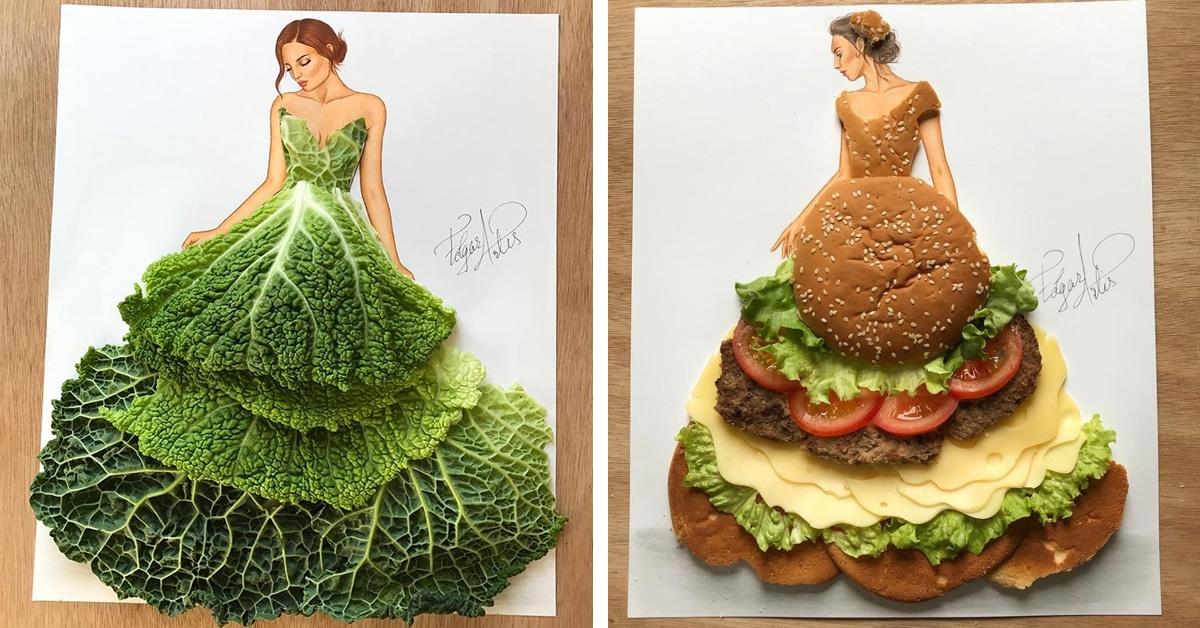 Ilustrações de moda usam objetos inesperados para criar vestidos de noite magníficos