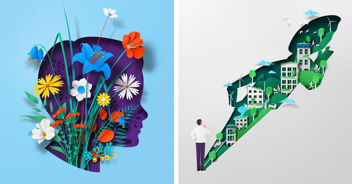 Ilustrações e gifs de papel visualizam artisticamente o corpo e a mente